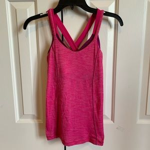 Lululemon pink tank top with build in bra, size 2